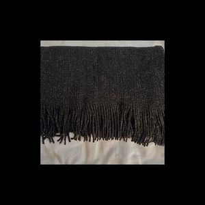 NWT Black/Silver Infinity Scarf With Fringes